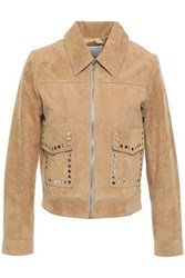 Sandro Woman Studded Suede Jacket Sand