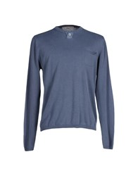 Private Lives Knitwear Jumpers Men Slate Blue