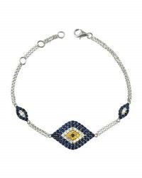 Diana M. Jewels 18K Triple Evil Eye Station Bracelet W Sapphire And Diamond Pave 0.22Tcw