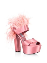 Prada Feather Trim Satin Platform Sandals Fuoco Red Geranio Pink Pavone Blue