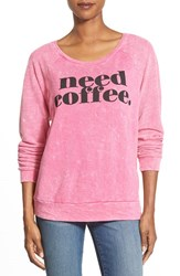 Women's Signorelli 'Need Coffee' Screenprint Thermal Top Need Coffee Rasberry