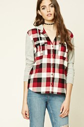 Forever 21 Plaid Flannel Hoodie Shirt Wine Cream