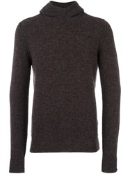 Roberto Collina Knitted Hoodie Brown
