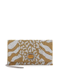 Mary Frances Savage Beaded Shoulder Bag Gold Wht