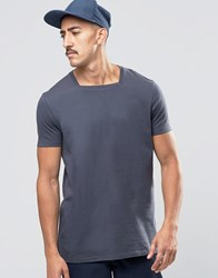 Asos Longline T Shirt With Square Neck In Ebony Ebony Grey
