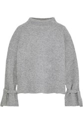 Line Fluted Ribbed Knit Sweater Gray