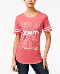 Disney Juniors' Beauty And The Beast Graphic T Shirt Heather Red
