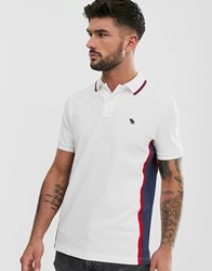 Abercrombie And Fitch Modern Side Logo Panel Tipped Pique Polo In White