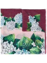 Dolce And Gabbana Floral Print Scarf Women Silk Cashmere One Size Pink Purple