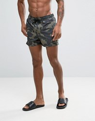 Asos Swim Shorts With Camo Print In Short Length Green