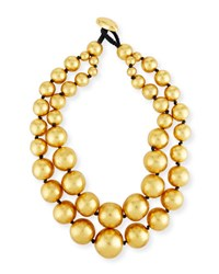 Viktoria Hayman Beaded Double Strand Necklace Gold