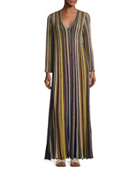 Missoni Metallic Striped Long Sleeve Gown Multi