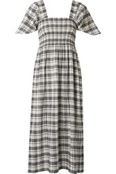 The Great Gimlet Checked Cotton And Linen Blend Midi Dress Black Gbp