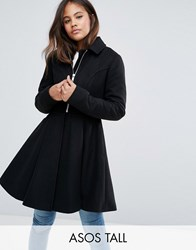 Asos Tall Swing Coat With Full Skirt And Belt Black