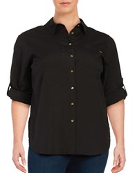 Miscellaneous Plus Roll Tab Blouse Black