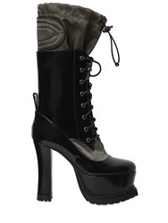 Moschino 120Mm Brushed Leather And Nylon Boots