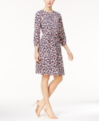 Nine West Floral Print Blouson Dress Navy White Red