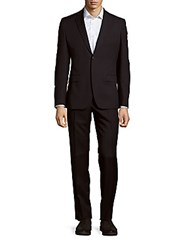 Versace Solid Formal Suit Blue