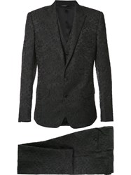 Dolce And Gabbana Floral Embroidered 3 Piece Suit Black