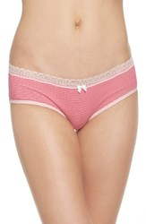 Betsey Johnson Women's Stretch Cotton Hipster Panty Mini Stripe Cheeky Pink
