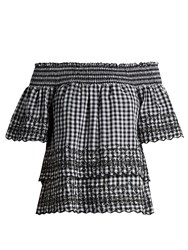 Bliss And Mischief Gingham Off The Shoulder Cotton Top Black White