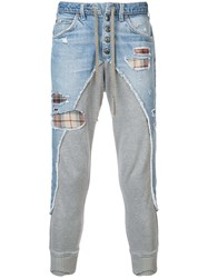 Greg Lauren Panelled Tapered Trousers Blue