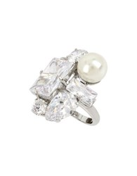 Betsey Johnson Faux Pearl And Crystal Ring Silver