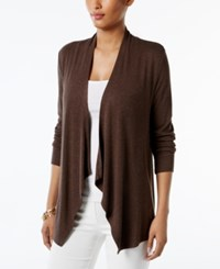 Inc International Concepts Draped Cardigan Only At Macy's Heather Brownie