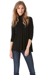 Three Dots Relaxed Hi Lo Turtleneck Black
