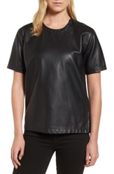 Kenneth Cole Women's New York Faux Leather Tee Black