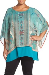 Plus Size Women's Citron Print Silk Layered Tunic