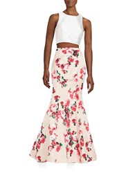 Xscape Evenings 2 Piece Crop Top And Skirt Set Ivory Pink