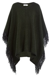 Closed Knit Cape With Alpaca Green
