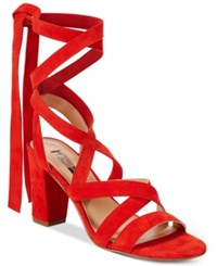 Inc International Concepts Kailey Lace Up Block Heel Sandals Only At Macy's Women's Shoes Spring Red