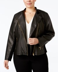 Calvin Klein Plus Size Faux Leather Moto Jacket Black