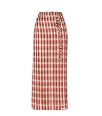 Miu Miu Plaid Cotton Wrap Skirt Multicoloured