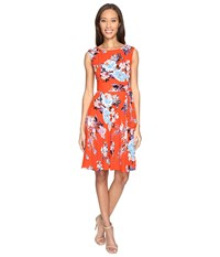 Tahari By Arthur S. Levine Textured Crepe Floral Tie Side A Line Dress White Flame Sky Women's Dress Orange