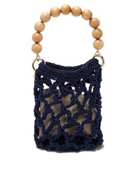 Rosantica By Michela Panero Polaris Beaded Handle Woven Bag Blue Multi