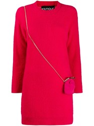 Boutique Moschino Long Sleeve Sweater Dress Pink