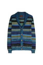 Missoni Men S Wide Collar Striped Cardigan Boutique1 Blue