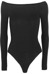 Atm Anthony Thomas Melillo Off The Shoulder Ribbed Stretch Micro Modal Bodysuit Black