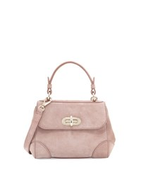 Ralph Lauren Mini Tiffin Suede Satchel Bag Winter Rose