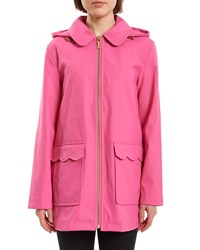Kate Spade Scalloped Trench Coat W Hood Electric Pink