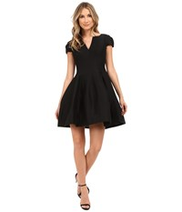 Halston Short Sleeve Notch Neck Dress With Tulip Skirt Black Women's Dress