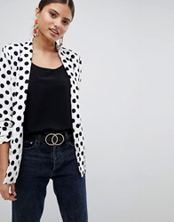 Missguided Polka Dot Gathered Sleeve Blazer White
