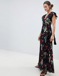 Asos Design Pleated Maxi Dress With Flutter Sleeve In Vintage Floral Print Multi