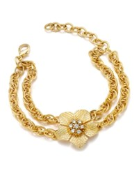 Charter Club Gold Tone Flower Crystal Double Chain Link Bracelet Only At Macy's
