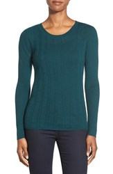 Women's Classiques Entier Mix Stitch Merino Wool Sweater Teal Abyss