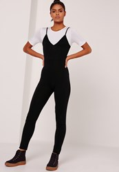 Missguided Sarah Ashcroft Jersey 2 In 1 Jumpsuit Black Black