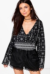 Boohoo Leanne Mixed Print Wrap Front Blouse Black